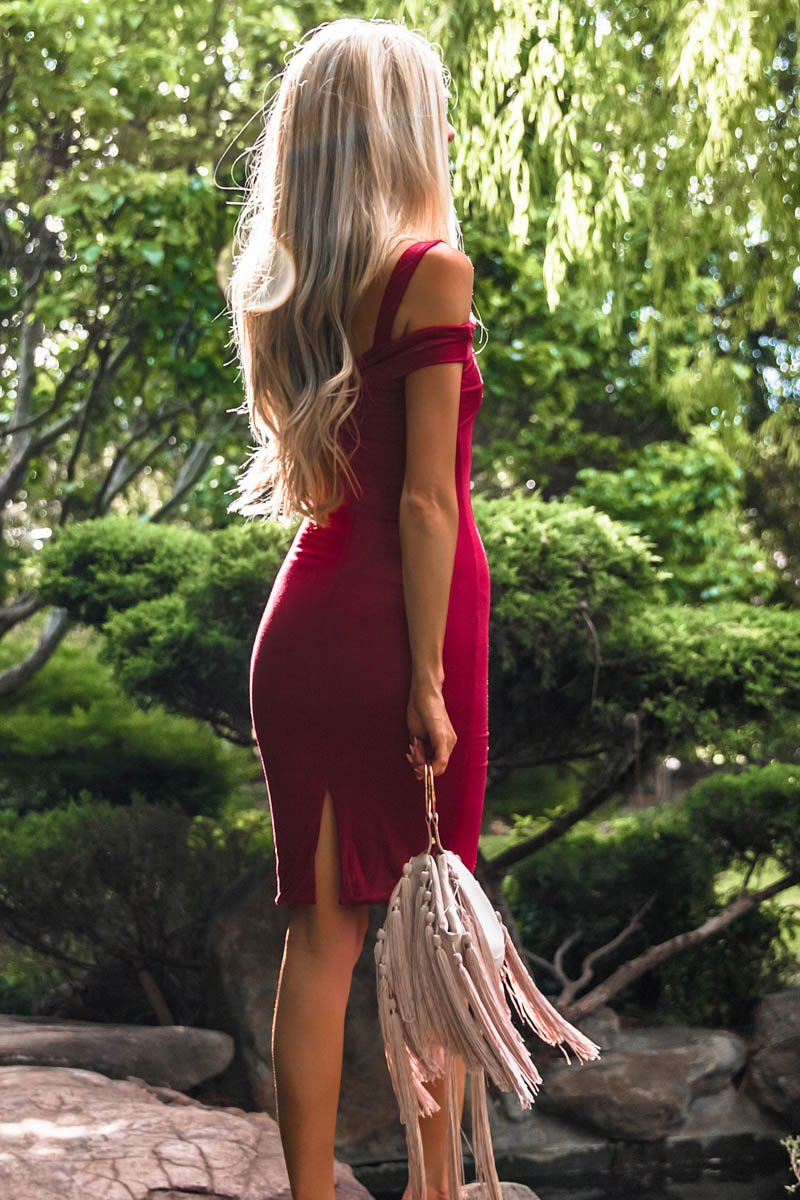 JULES MIDI DRESS - WINE