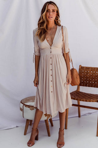 BELOVED DRESS - CARAMEL POLKA DOT
