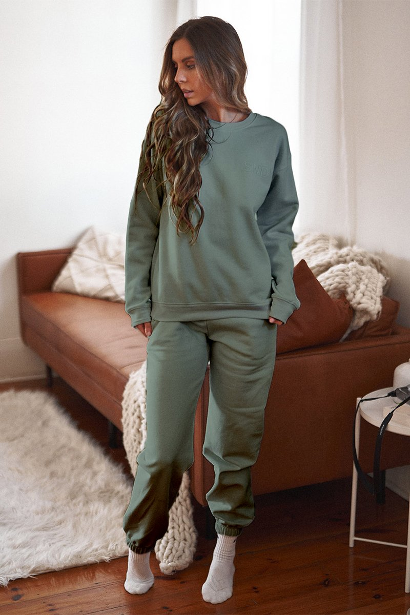 LUXE FLEECE CREW - KHAKI