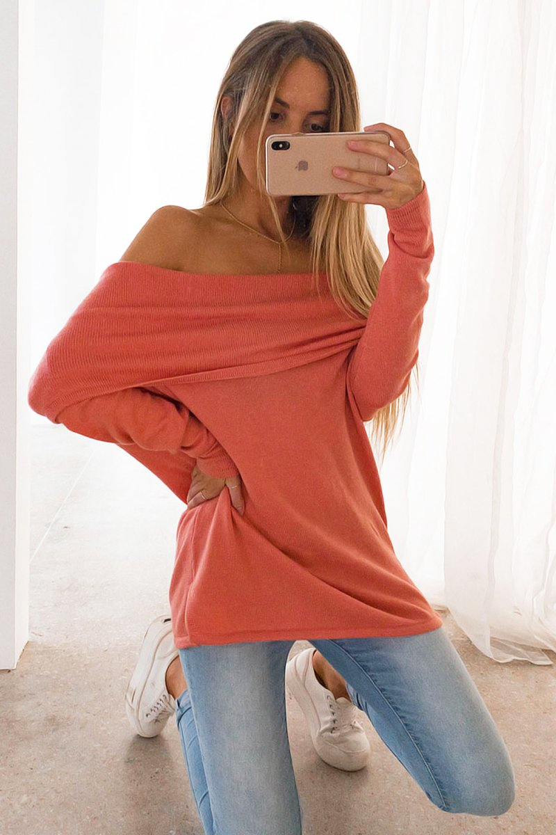 LOPEZ OFF SHOULDER KNIT - WATERMELON