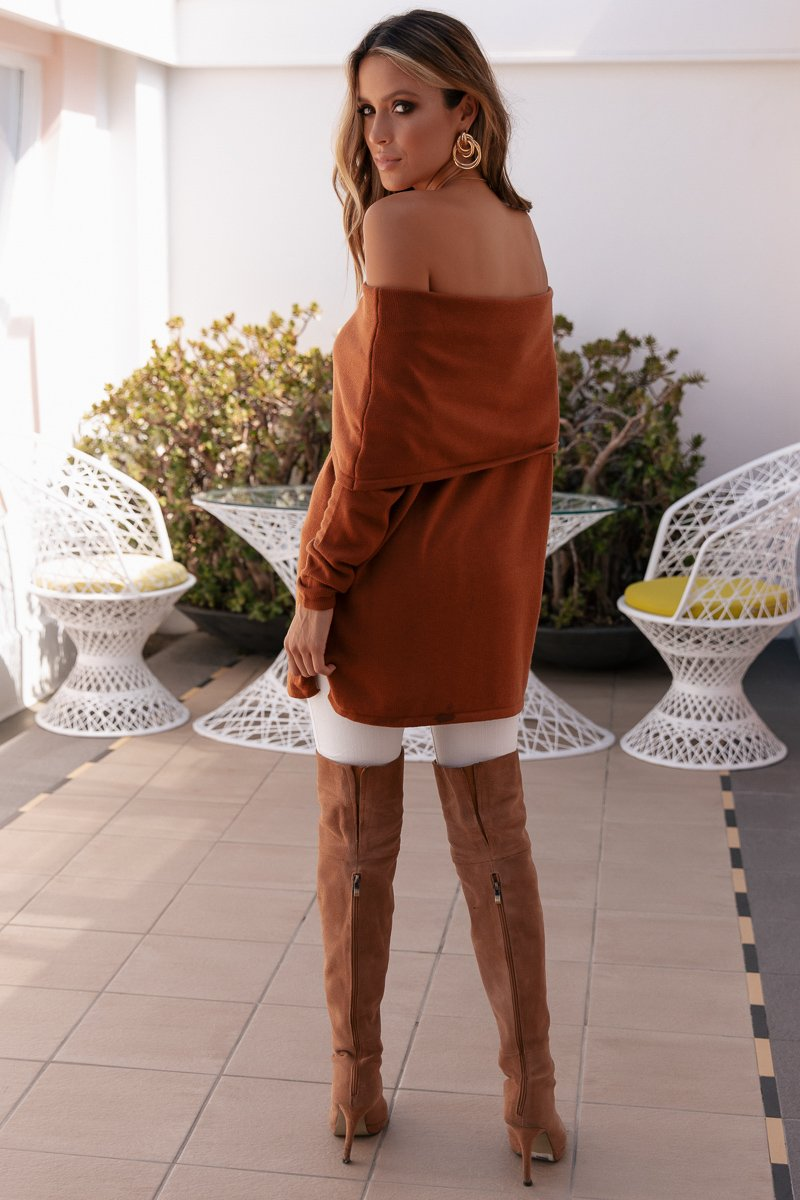 LOPEZ OFF SHOULDER KNIT - RUST