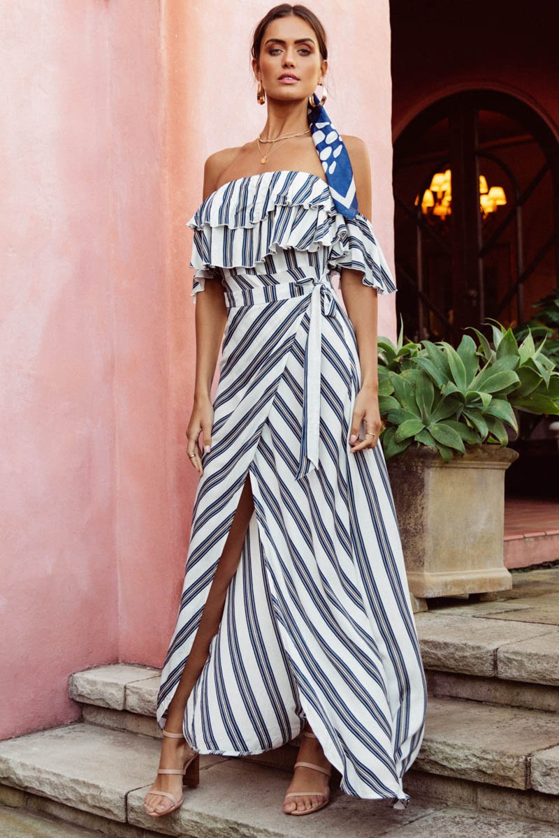 LOTTE MAXI DRESS - BLUE & WHITE STRIPE