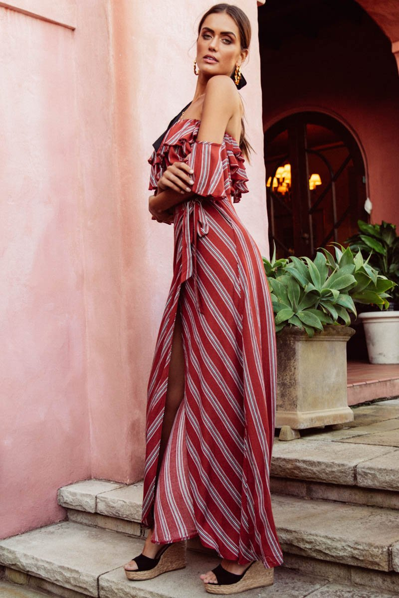LOTTE MAXI DRESS - RUST STRIPE