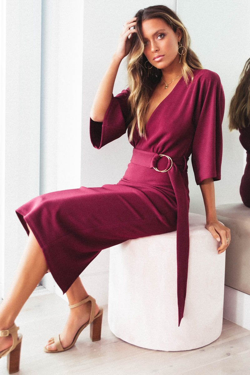 LUE MIDI DRESS - WINE