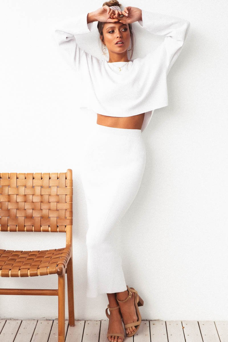 NAHLA RIBBED KNIT SKIRT - WHITE