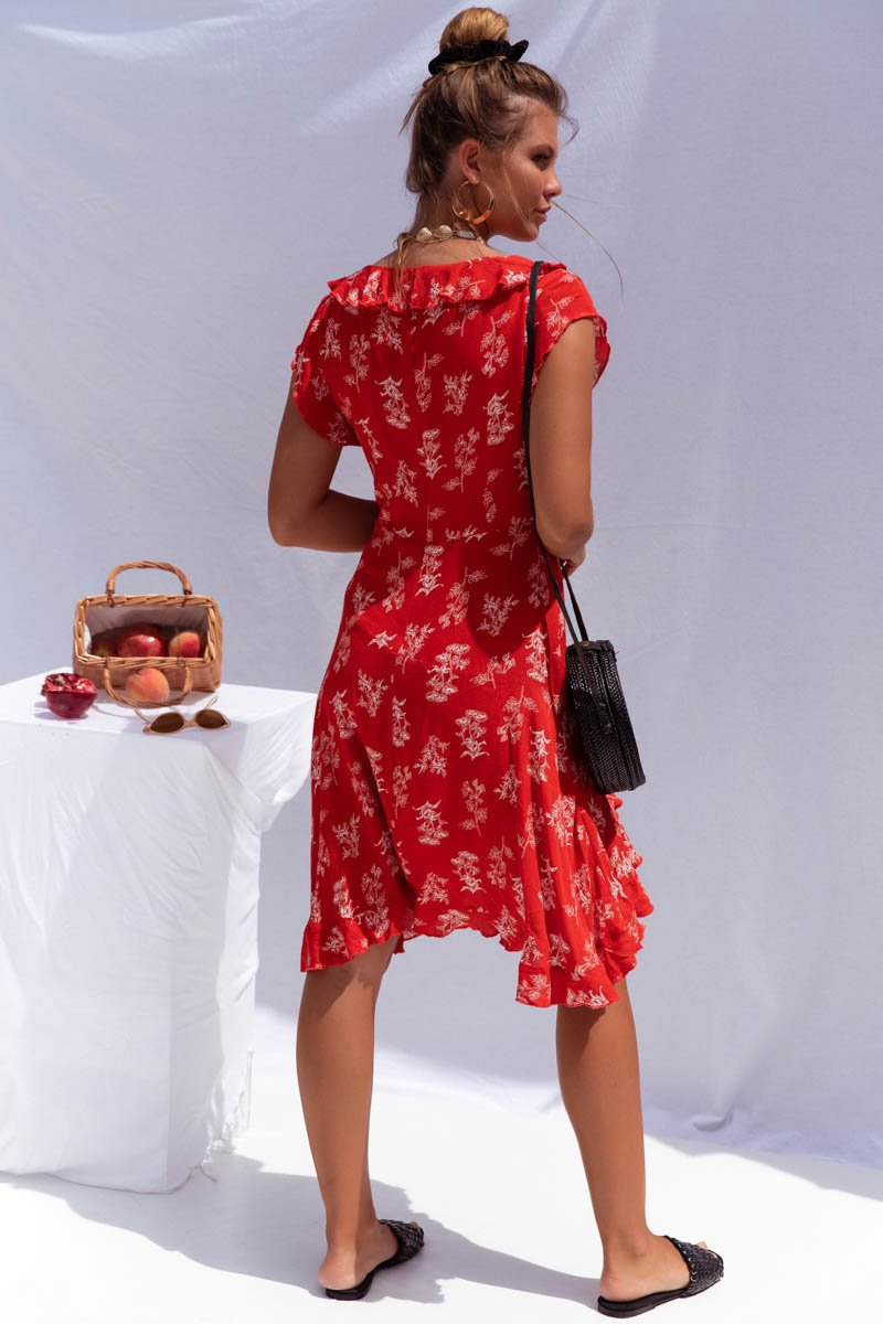 LUMIERE DRESS - ORANGE RED PRINT