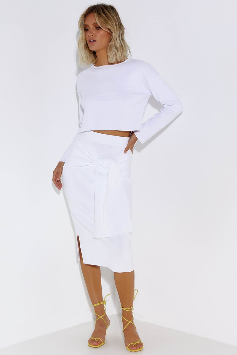 MELODY KNIT SKIRT - WHITE