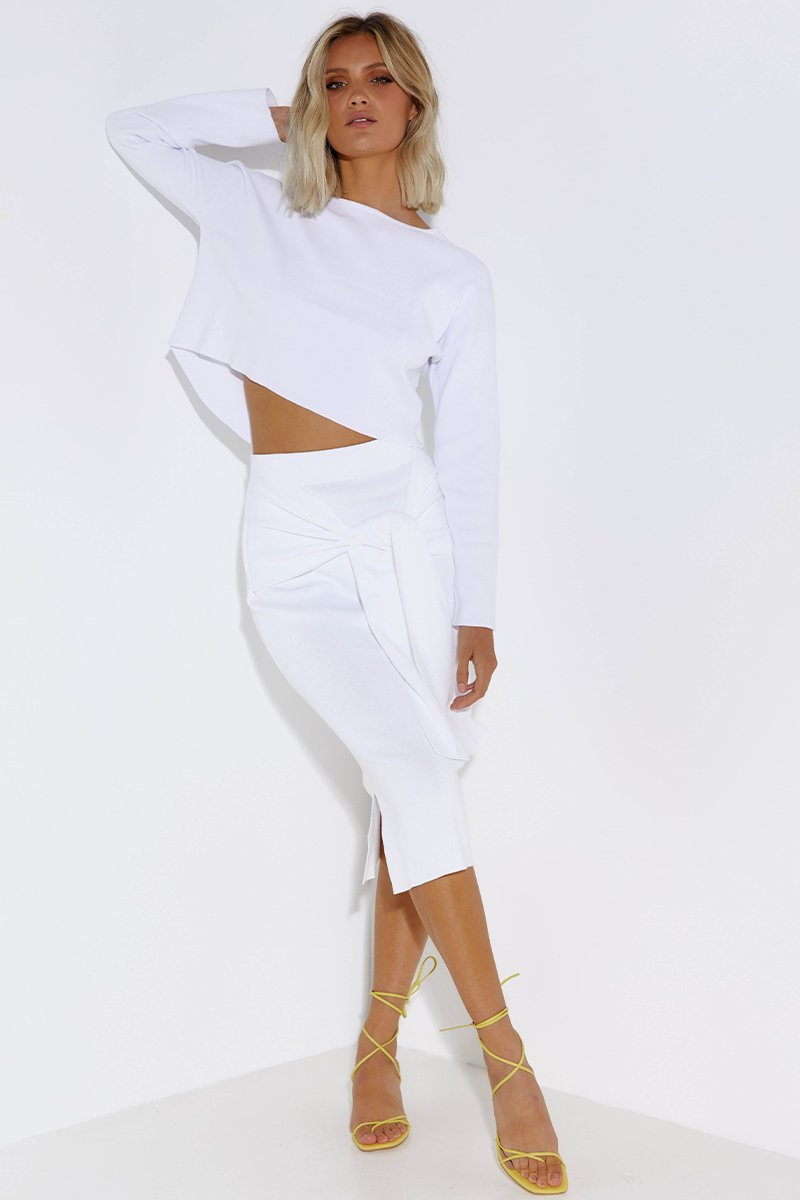 LULU CROP SWEATER - WHITE