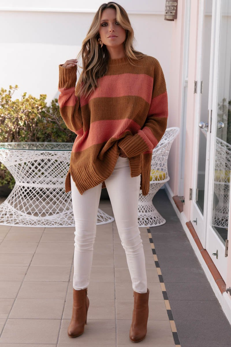 MIMI KNIT - APRICOT AND TAN