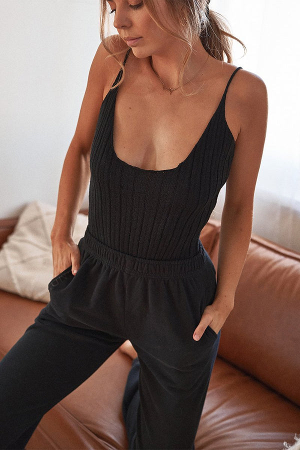 MODE RIBBED KNIT BODYSUIT - BLACK