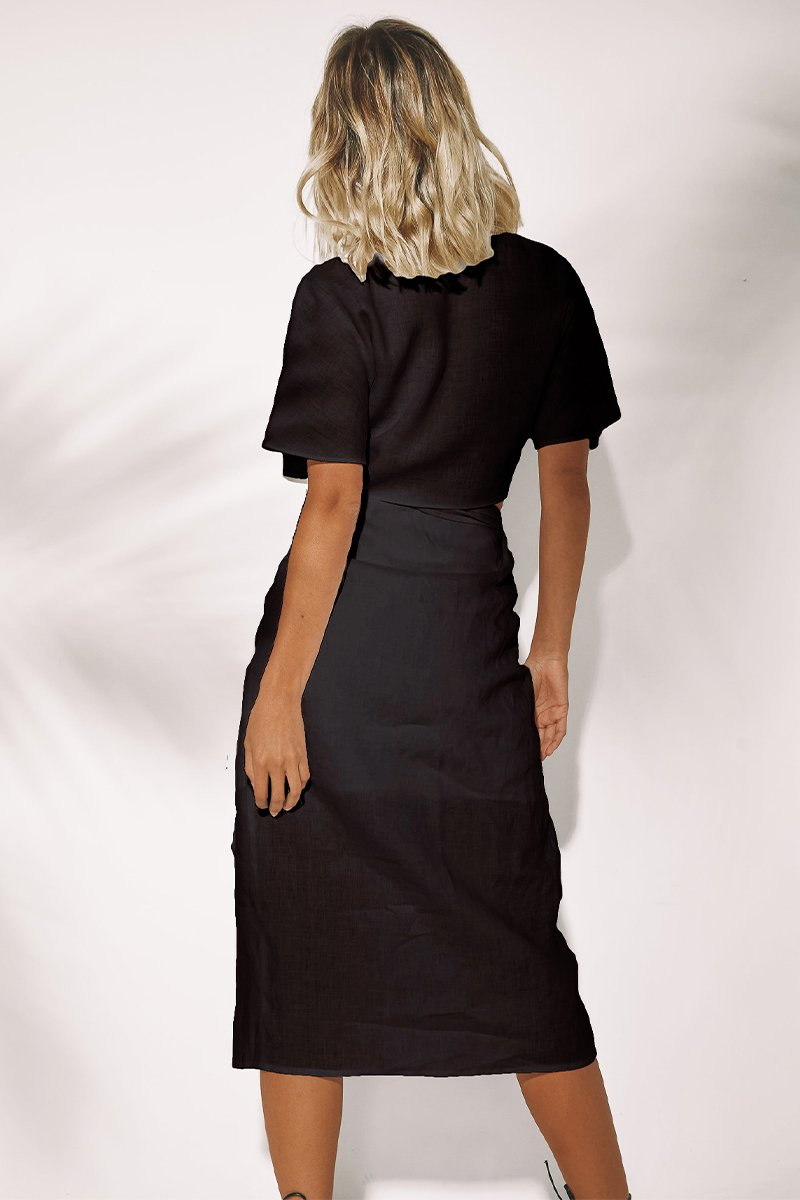 NINA WRAP SKIRT - BLACK