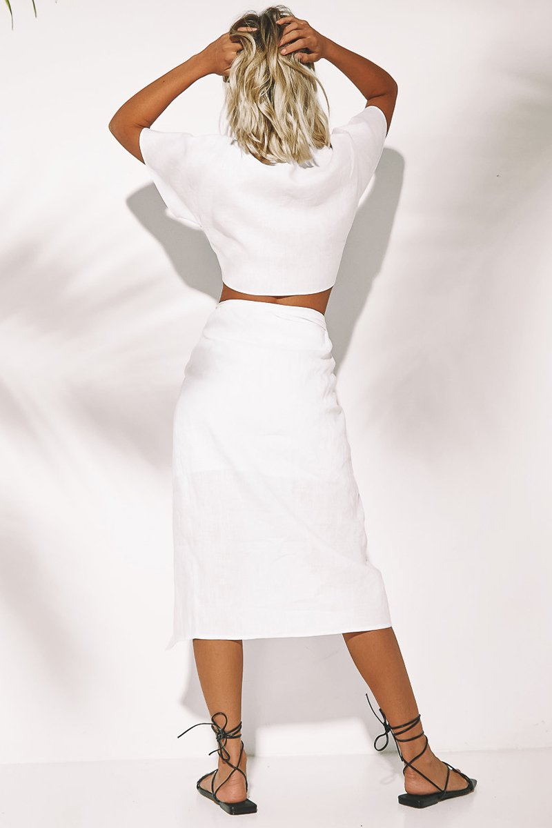 NINA WRAP SKIRT - WHITE