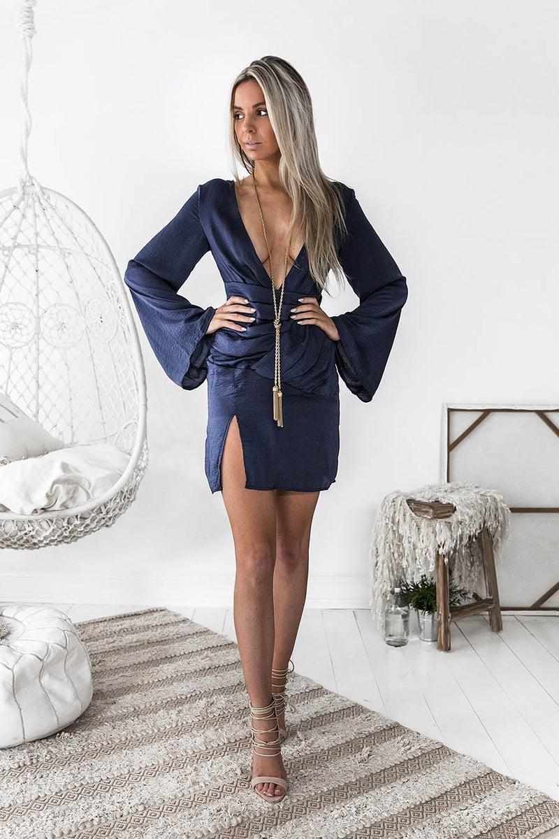 OLIVIA MINI DRESS NAVY