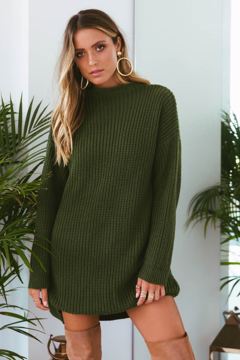 OXFORD KNIT DRESS - GREEN