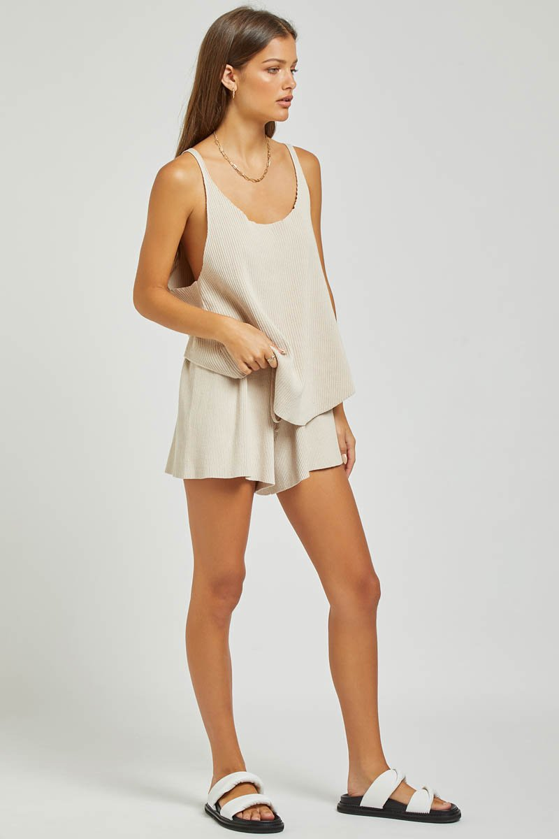 GOLDIE RIBBED TANK - SAND