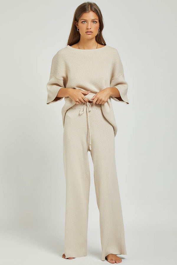 GOLDIE RIBBED PANT - SAND