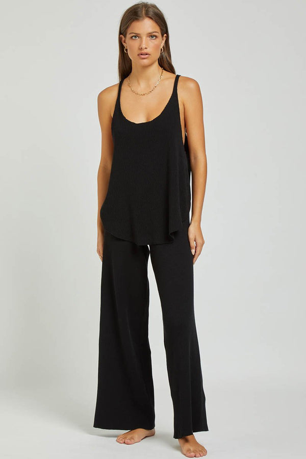 GOLDIE RIBBED PANT - BLACK