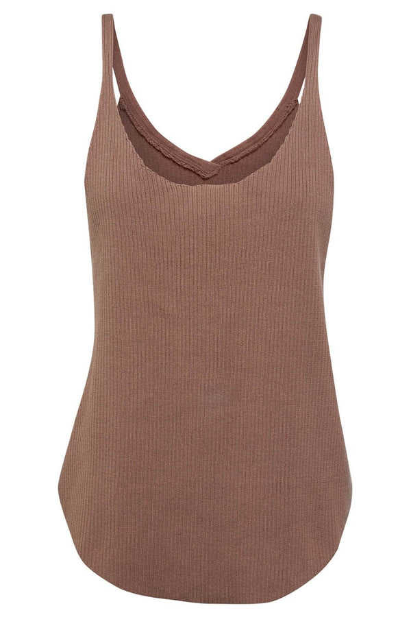 GOLDIE RIBBED TANK - CHOCOLATE