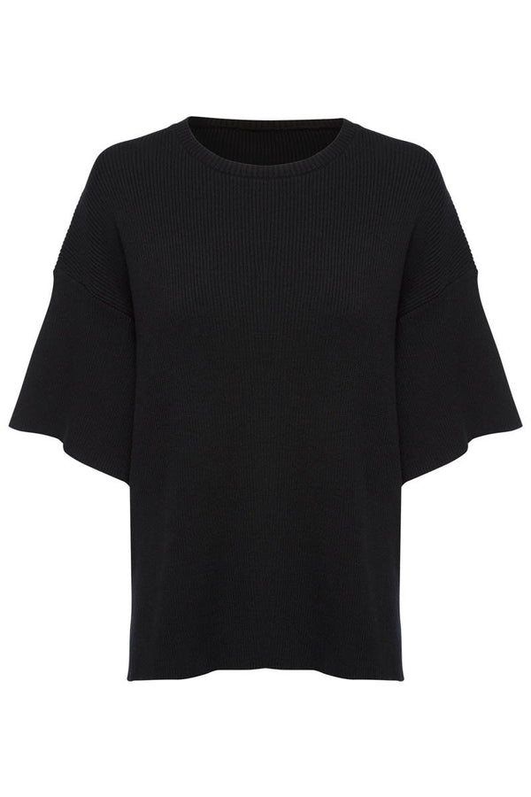 GOLDIE RIBBED TEE - BLACK