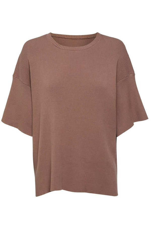 GOLDIE RIBBED TEE - CHOCOLATE