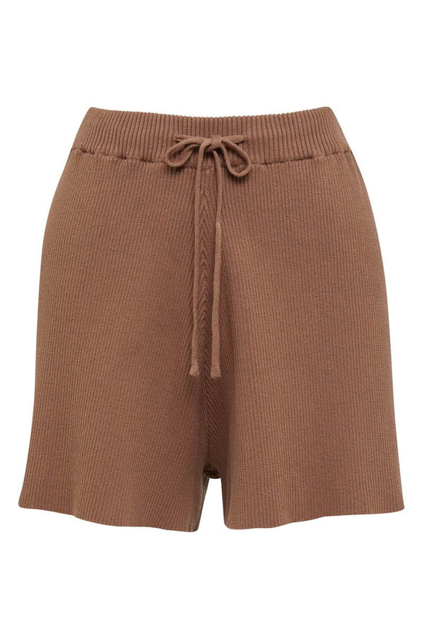 GOLDIE RIBBED SHORT - CHOCOLATE