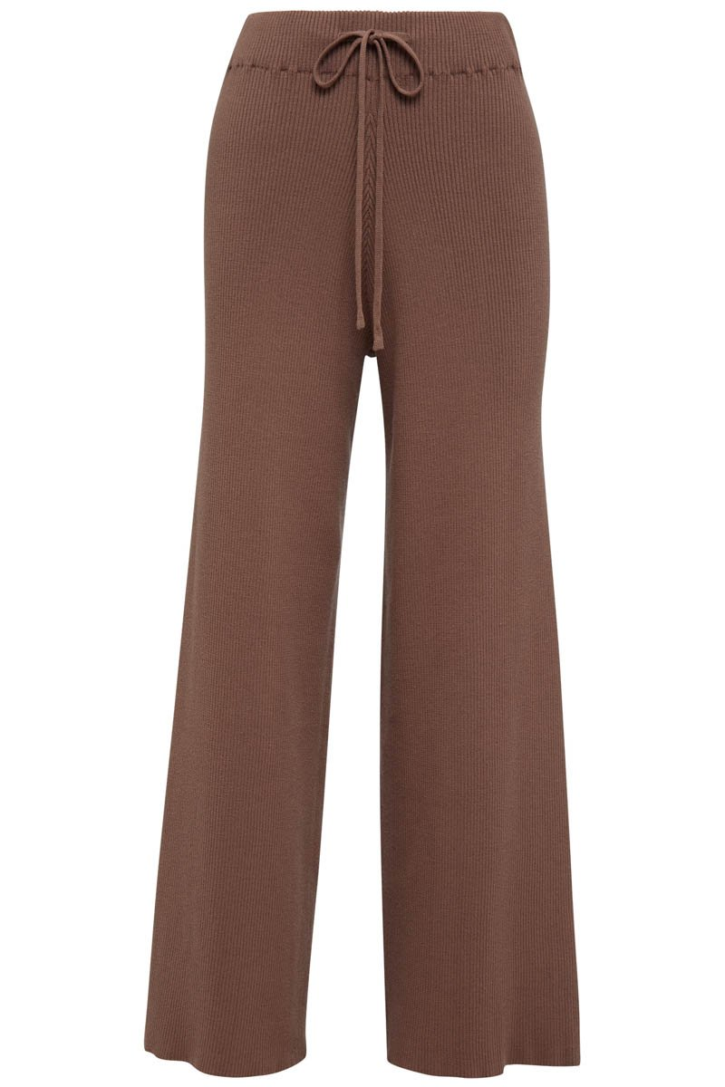 GOLDIE RIBBED PANT - CHOCOLATE