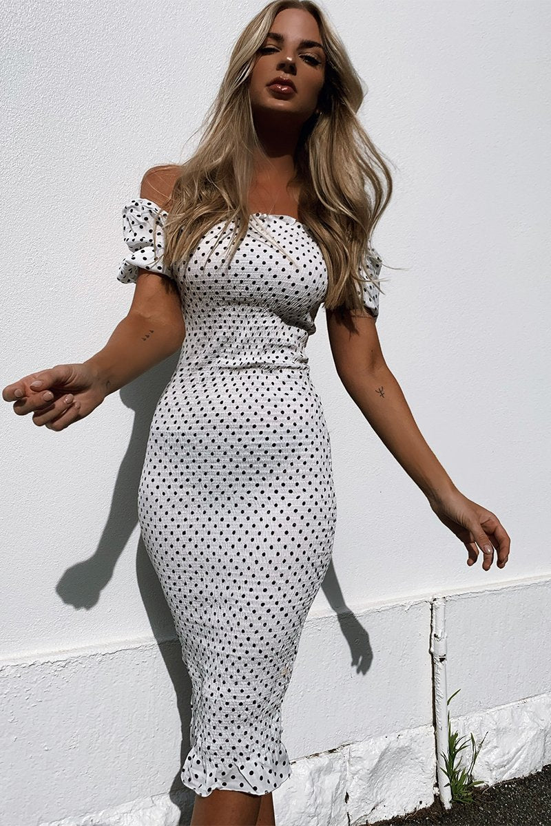 PIPA DRESS - WHITE/BLACK POLKA DOT