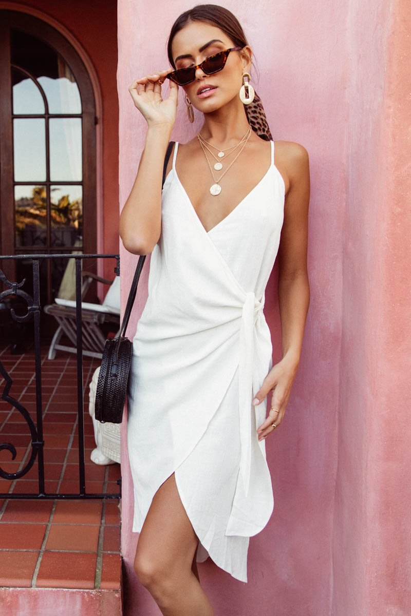 RAYZ WRAP DRESS - WHITE - PRE ORDER