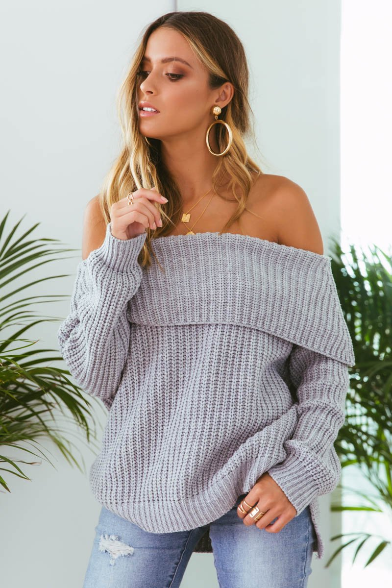 REECE OFF-SHOULDER KNIT - GREY