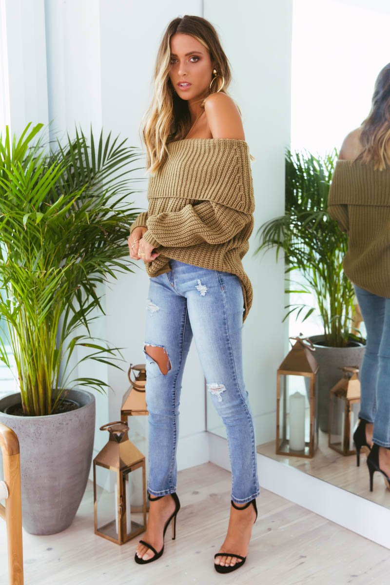 REECE OFF-SHOULDER KNIT - KHAKI