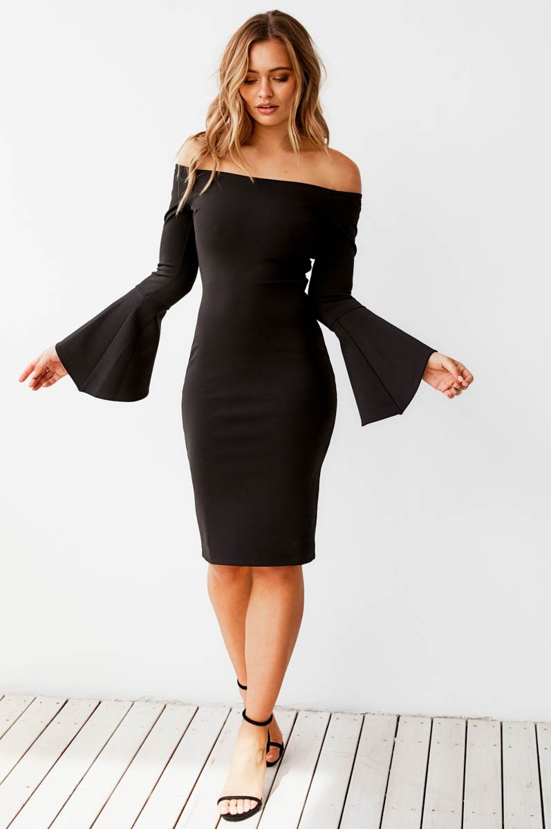 RIO MIDI DRESS - BLACK