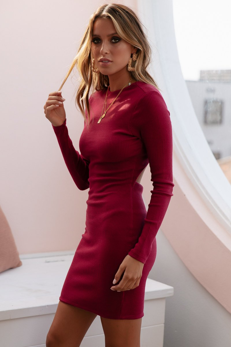 ROCHELLE RIBBED MIDI - WINE