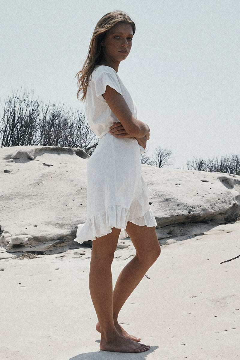 RENEE WRAP DRESS - WHITE