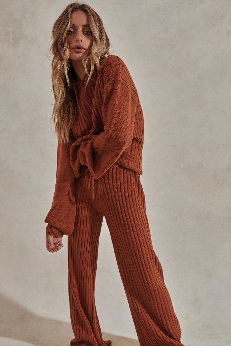 HENDRIX KNIT PANTS - RUST