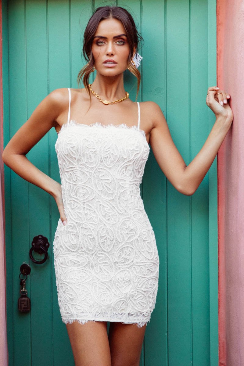 NAKODA MINI DRESS - WHITE LACE