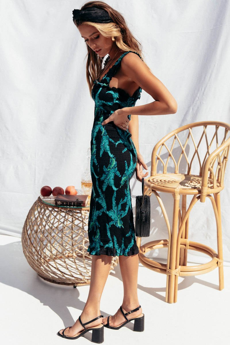 TINA MIDI DRESS BLACK PRINT