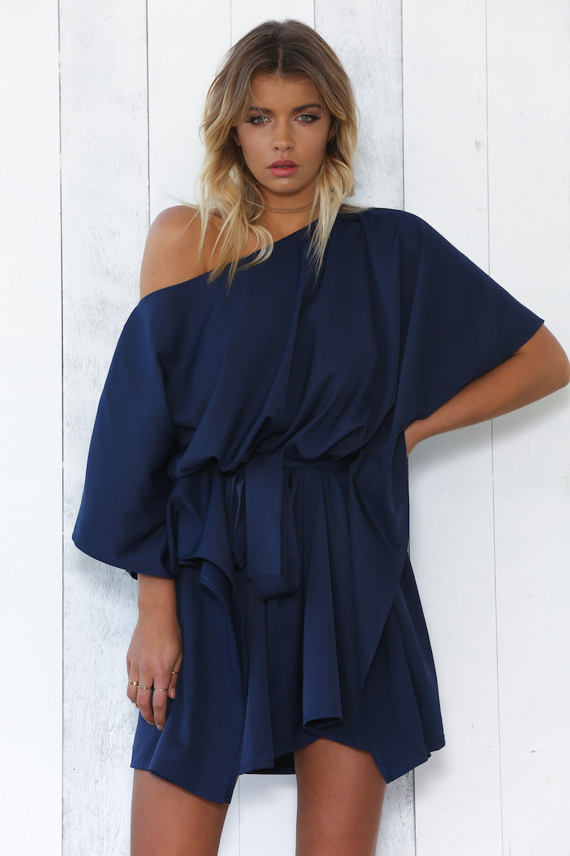 SATEEN DRESS NAVY