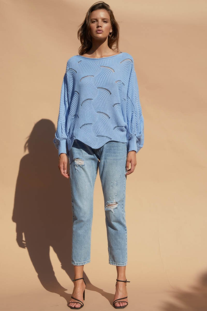SCALLOP KNIT TOP - BLUE
