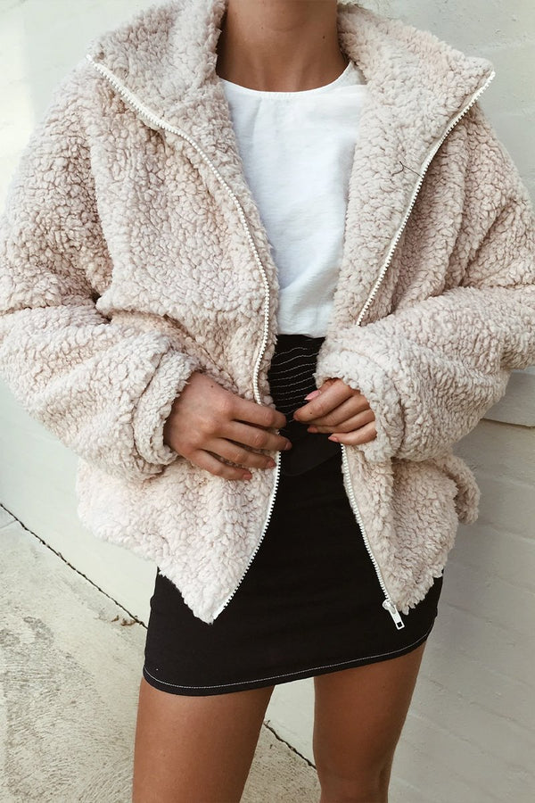 SHEEPISH PLUSH JACKET - CREAM