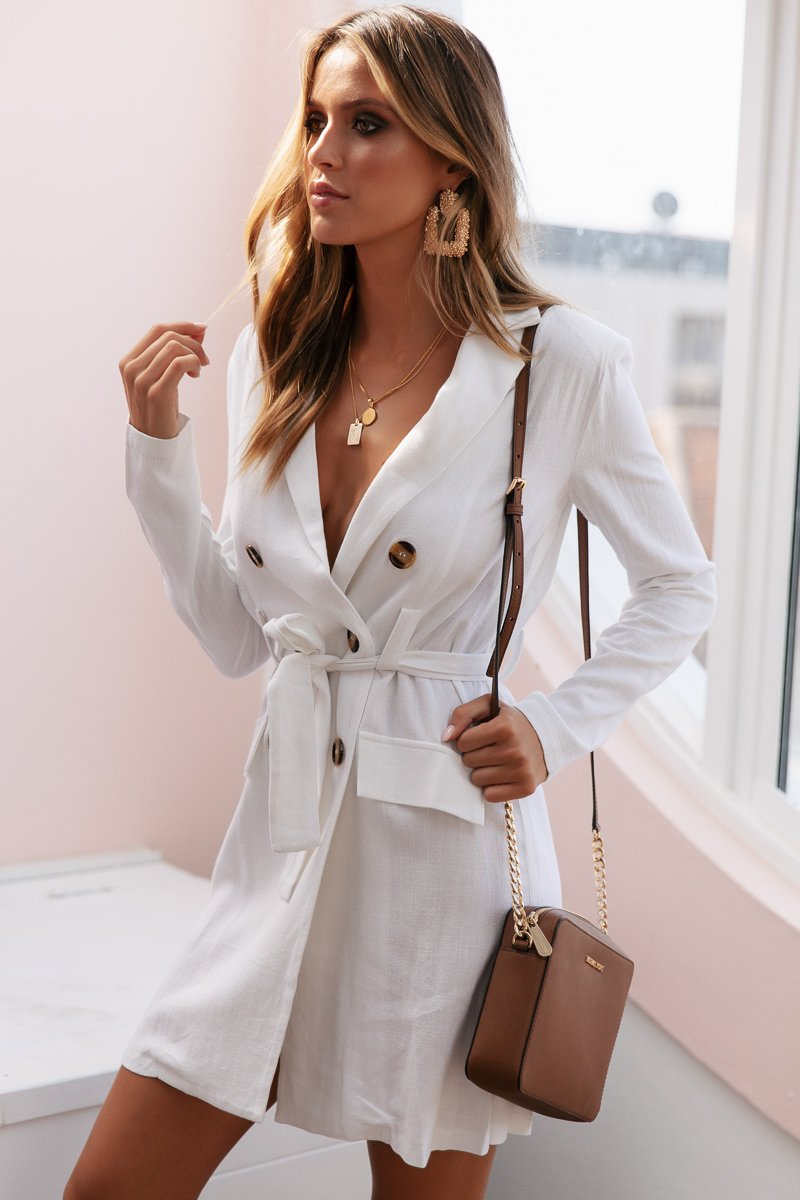 SHERIFF LINEN BLAZER DRESS - WHITE