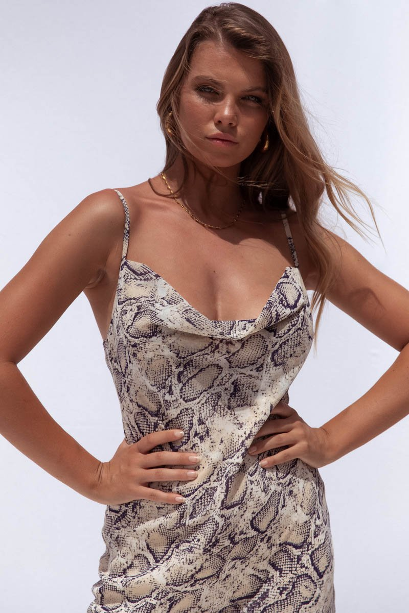 SKIN DRESS - BROWN SNAKE PRINT
