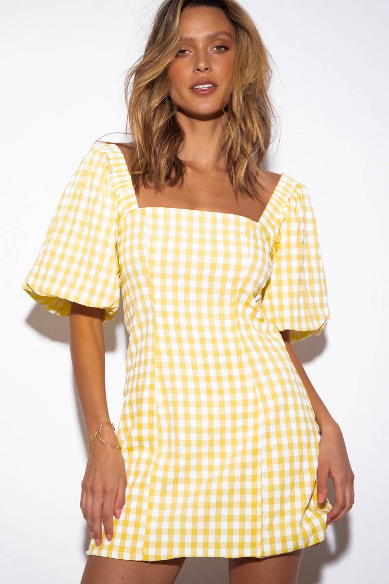 TUSCANY DRESS - YELLOW GINGHAM - PRE ORDER