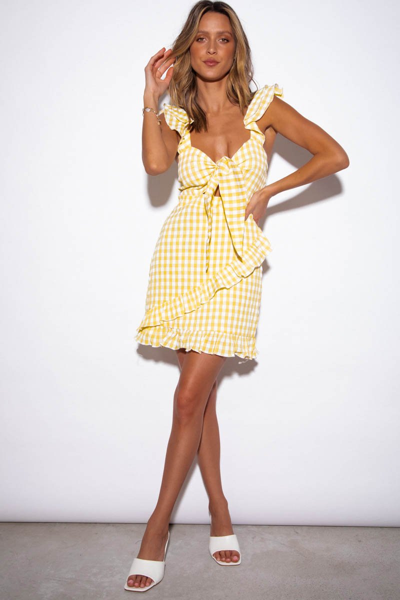CROATIA DRESS - YELLOW GINGHAM - PRE ORDER