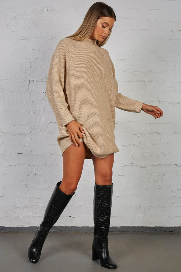 TIMING KNIT DRESS - SAND