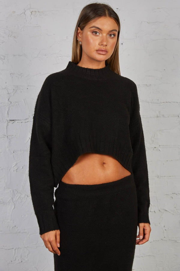 LATE LUNCH KNIT TOP - BLACK