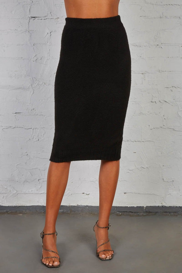 LATE LUNCH KNIT SKIRT - BLACK