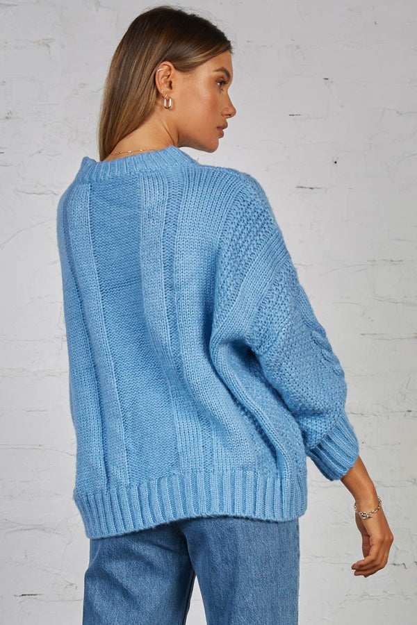CARRIE CABLE KNIT - BLUE