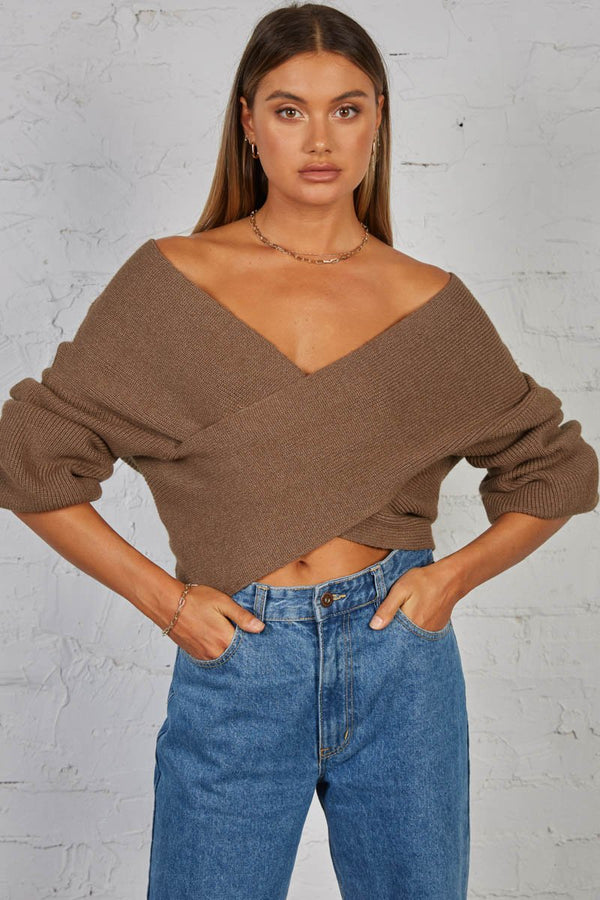 IZZY KNIT TOP - LATTE