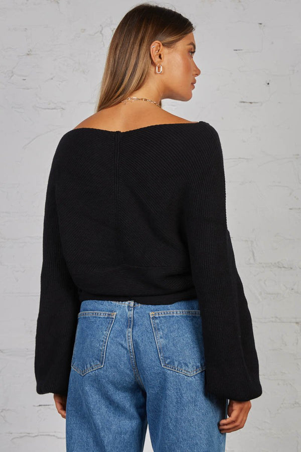 IZZY KNIT TOP - BLACK