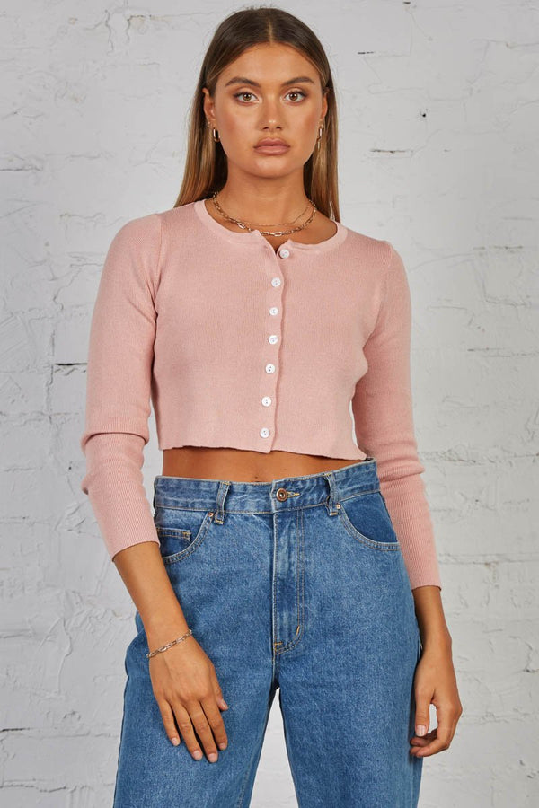 SHEER KNIT CARDI - ROSE